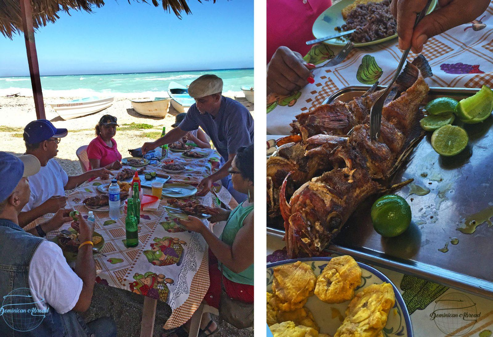 Eating a seafood feast at Kathy's restaurant on Los Patos Beach.