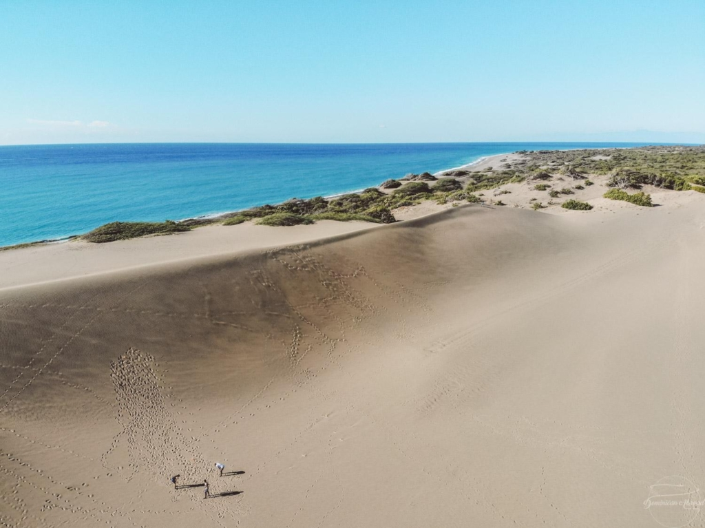 The beautiful Las Dunas de Bani sand dunes overlooking the ocean.