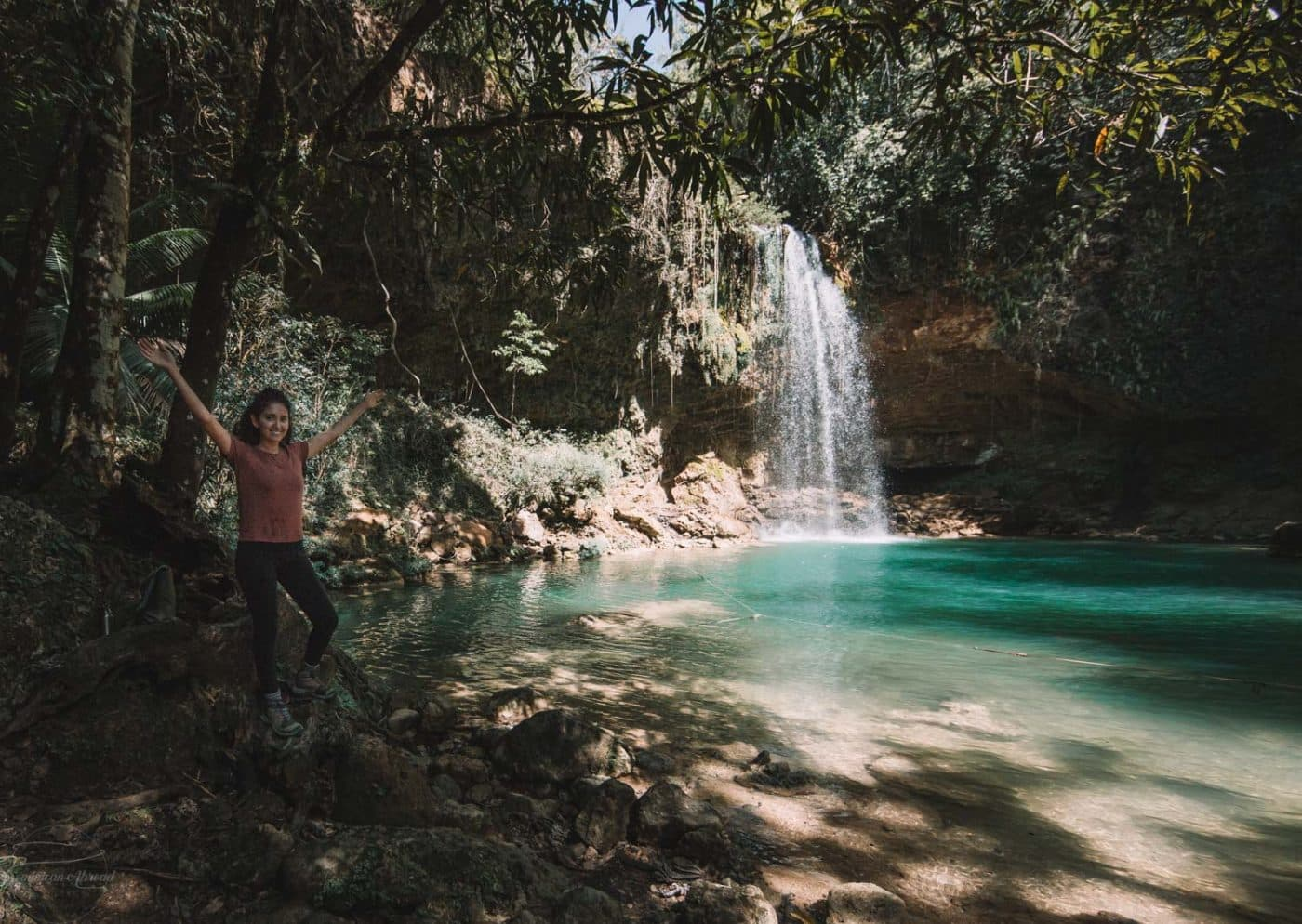 The beautiful blue waters of Salto de Socoa waterfall in the Dominican Republic.