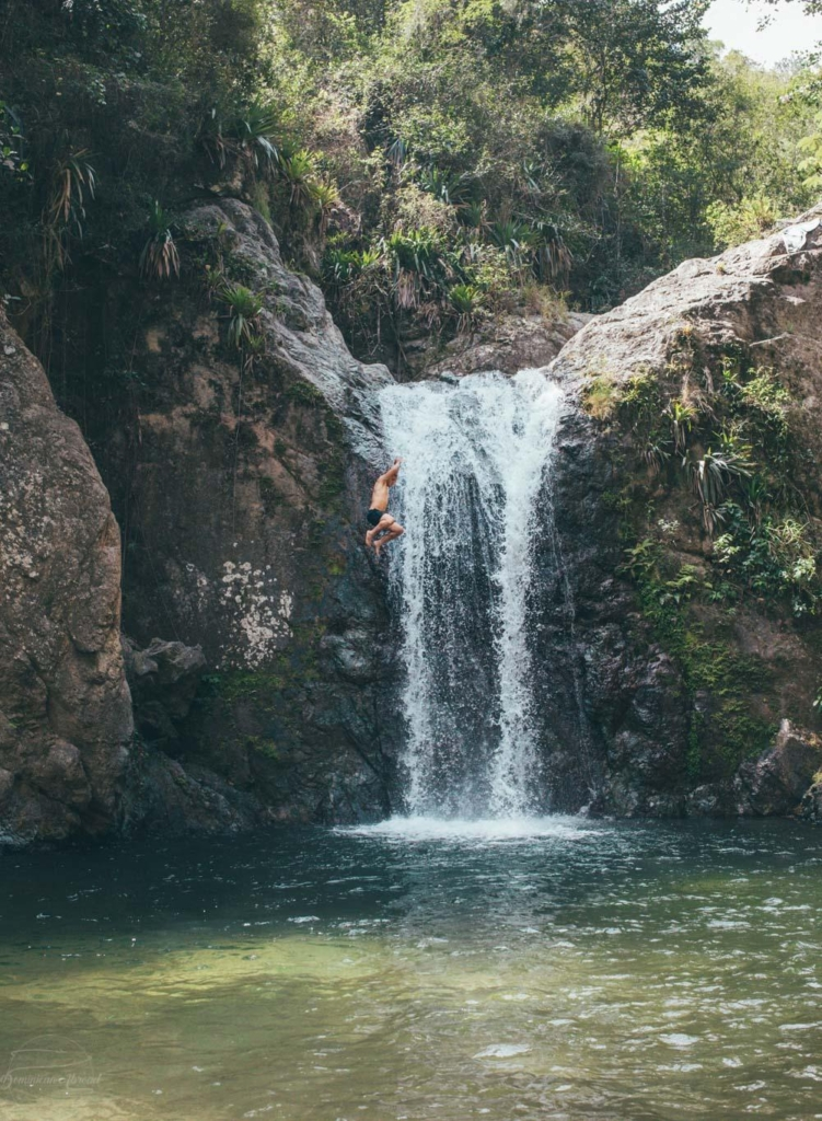 The Salto Secreto waterfall in the Jarahacoa region of the Dominican Republic.