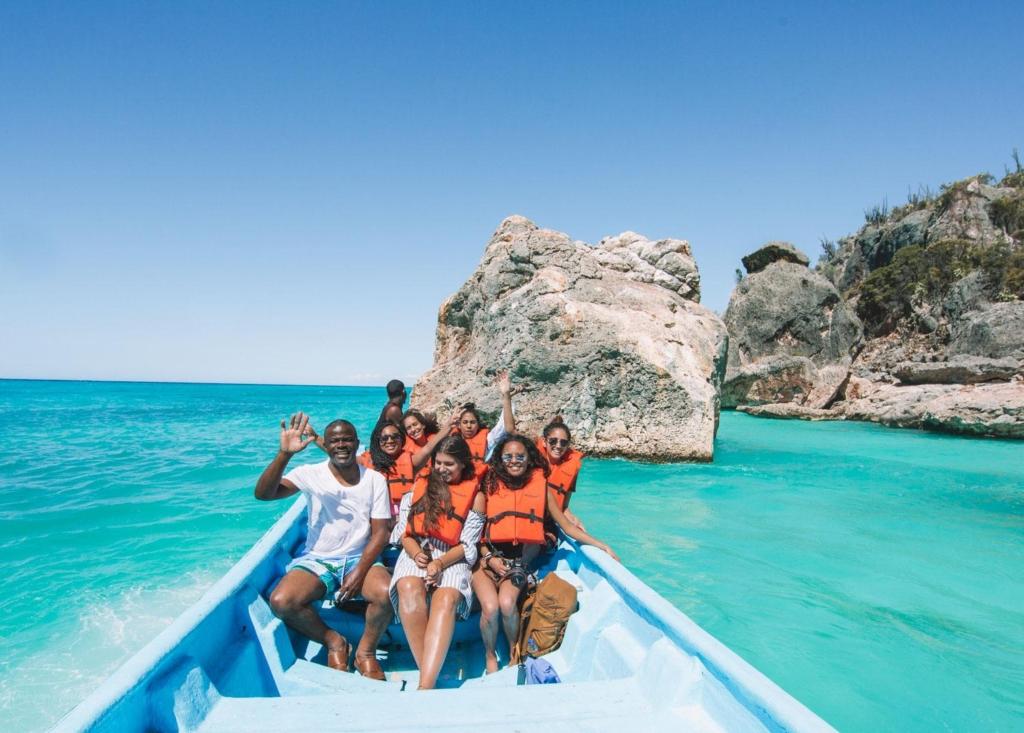 Taking a tour of beautiful, bahia de las aguilas beach.