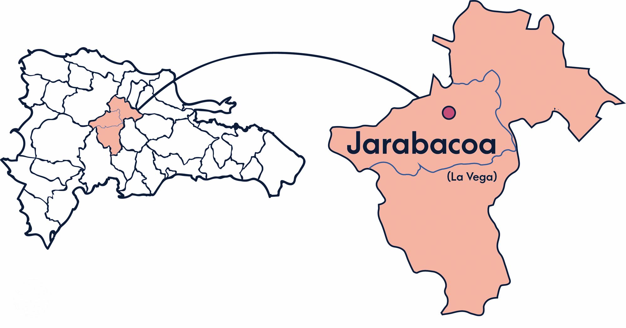 A Map of the Dominican Republic showing whee the Jarabacoa region is in orange.
