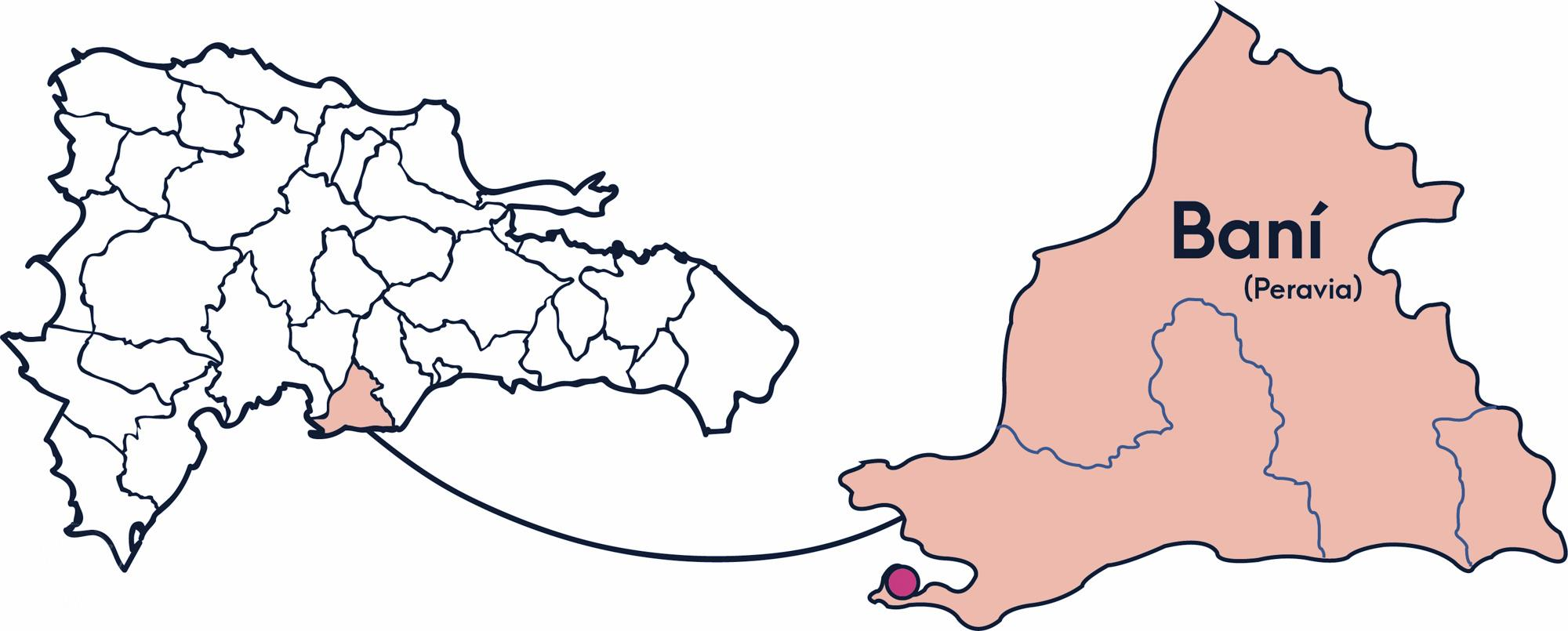 A Map of the Dominican Republic showing where the Bani city region is in orange.