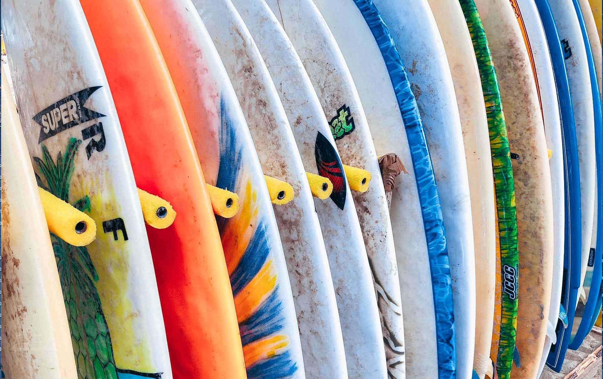 Colorful boards used to go kite surfing in Cabarete, Dominican Republic.