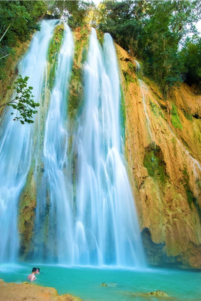 beautiful waterfall in dominican republic