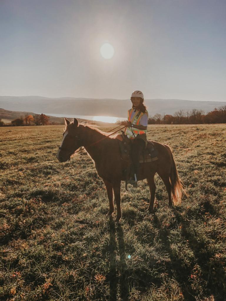 riding a horse near cayuga lake